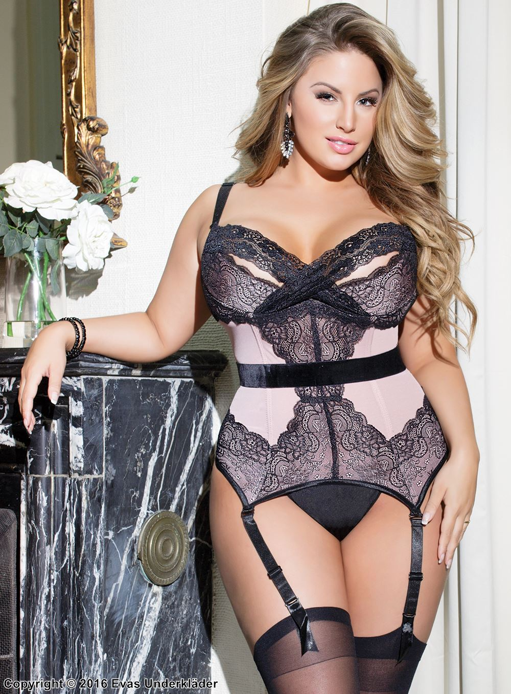 Powernet bustier with peek-a-boo cups, plus size